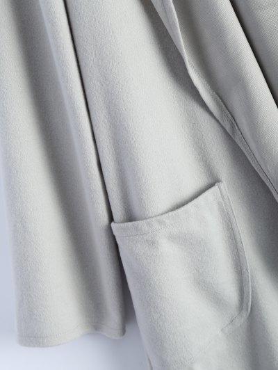 Cotton Open Front Coat - LIGHT GRAY XL Mobile