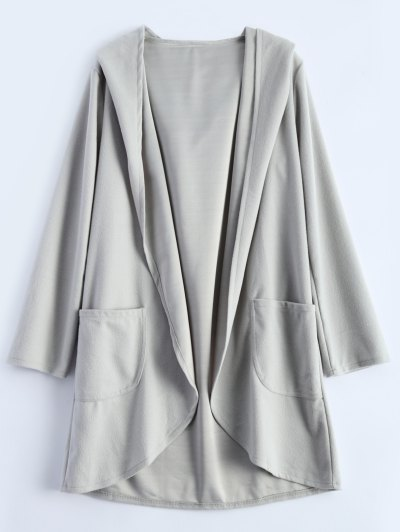 Cotton Open Front Coat - LIGHT GRAY L Mobile