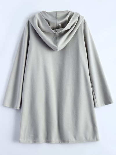 Cotton Open Front Coat - LIGHT GRAY M Mobile
