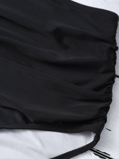 High Waist Striped Bikini Set - BLACK XL Mobile