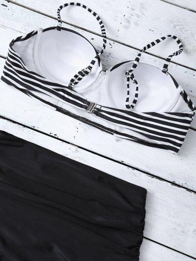 High Waist Striped Bikini Set - BLACK L Mobile