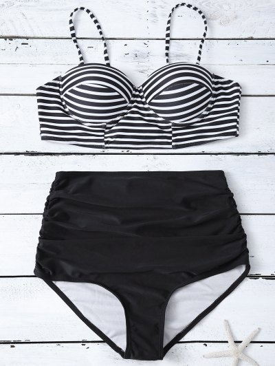 High Waist Striped Bikini Set - BLACK S Mobile
