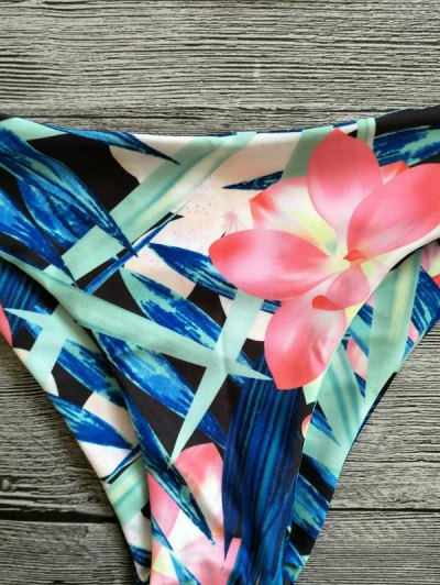 Halter Plant Print Padded Bikini - FLORAL M Mobile