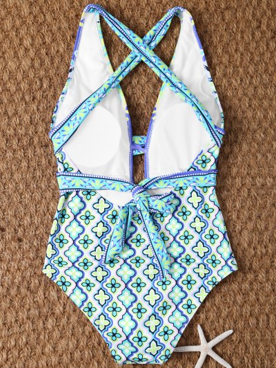 Plunge Neck Printed Criss-Cross Swimwear - MULTICOLOR L Mobile