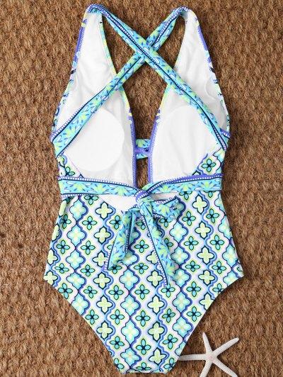 Plunge Neck Printed Criss-Cross Swimwear - MULTICOLOR S Mobile
