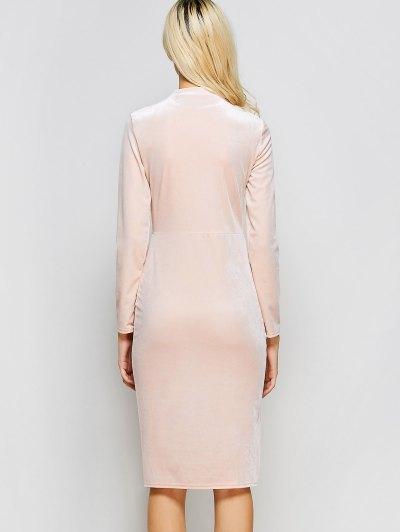 Vintage Velvet Slit Dress - PINK M Mobile