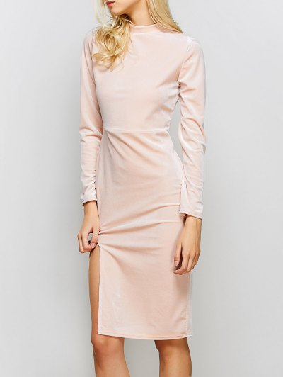 Vintage Velvet Slit Dress - PINK S Mobile