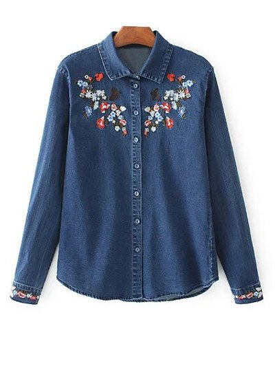 Stretchy Floral Embroidered Jean Shirt - BLUE M Mobile