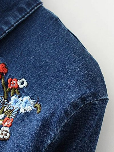 Stretchy Floral Embroidered Jean Shirt - BLUE S Mobile