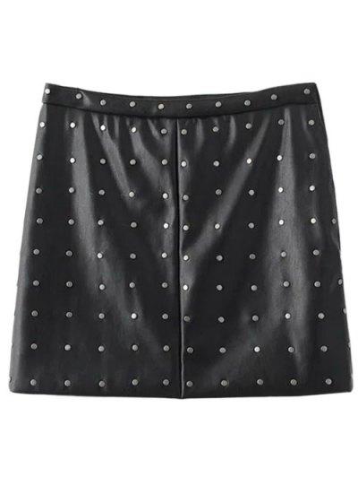 PU Leather Rivet A-Line Skirt - BLACK L Mobile