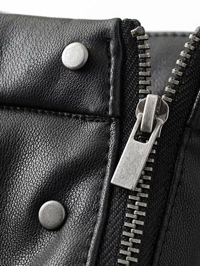 PU Leather Rivet A-Line Skirt - BLACK S Mobile