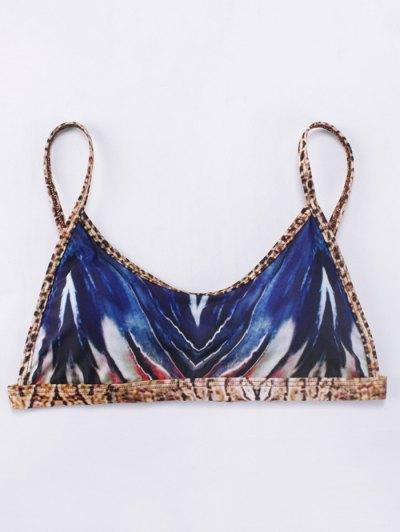 Printed Tie-Dyed Bikini Set - BLUE L Mobile