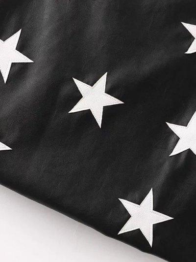 PU Leather Star A-Line Skirt - BLACK L Mobile
