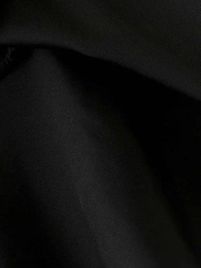 Flounced Velvet Mini Skirt - BLACK M Mobile