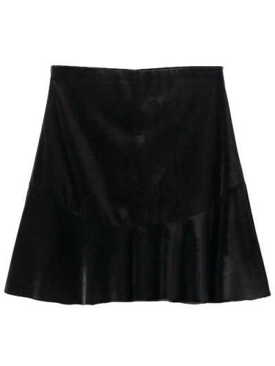Flounced Velvet Mini Skirt - BLACK S Mobile