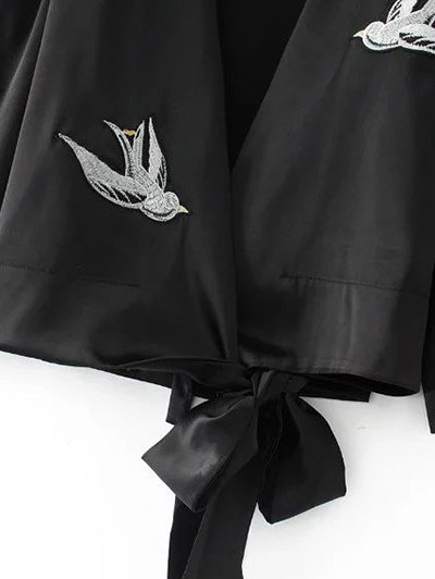 Bowknot Bird Embroidered Jacket - BLACK S Mobile