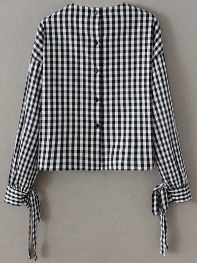 Buttoned Checked Blouse - BLACK L Mobile