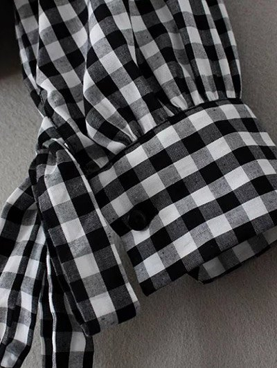 Buttoned Checked Blouse - BLACK M Mobile
