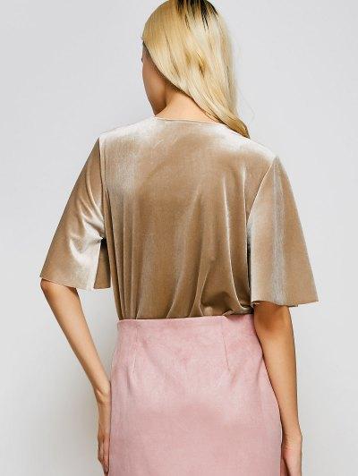 Velour Wrap Bodysuit - KHAKI L Mobile
