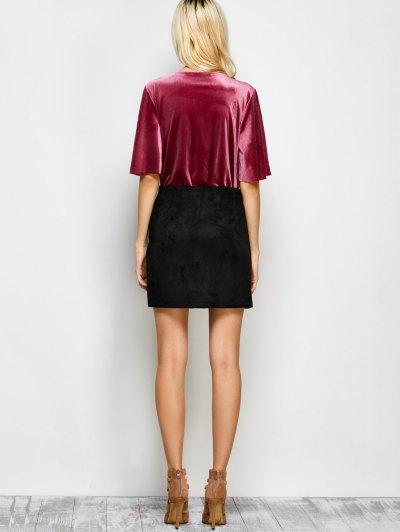 Velour Wrap Bodysuit - WINE RED M Mobile