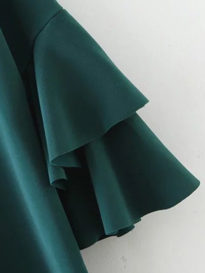 Frilled Sleeve Mini Dress - GREEN L Mobile