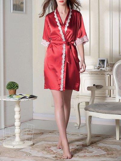Belted Satin Sleep Kimono Robe - RED M Mobile