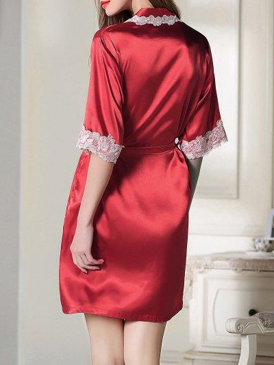 Belted Satin Sleep Kimono Robe - RED XL Mobile