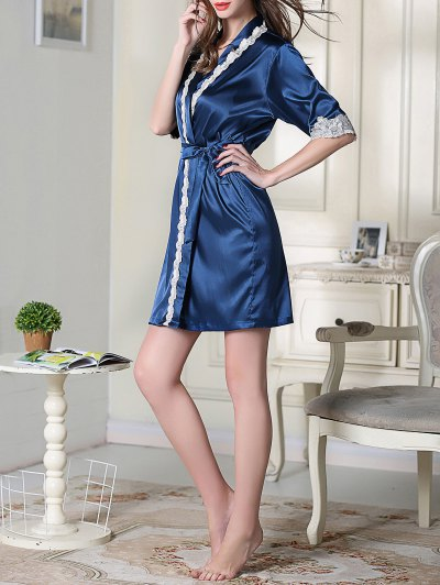 Belted Satin Sleep Kimono Robe - ROYAL BLUE M Mobile