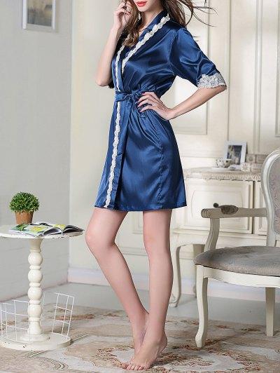 Belted Satin Sleep Kimono Robe - ROYAL BLUE L Mobile
