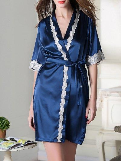 Belted Satin Sleep Kimono Robe - ROYAL BLUE XL Mobile
