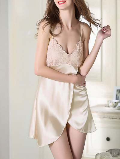 Lace Satin Slip Sleep Dress - CHAMPAGNE M Mobile