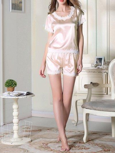 Satin Scoop Tee Boxer Pajama - LIGHT PINK M Mobile