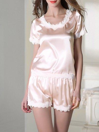 Satin Scoop Tee Boxer Pajama - LIGHT PINK XL Mobile