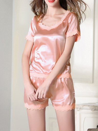 Satin Scoop Tee Boxer Pajama - PINK M Mobile