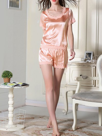 Satin Scoop Tee Boxer Pajama - PINK L Mobile