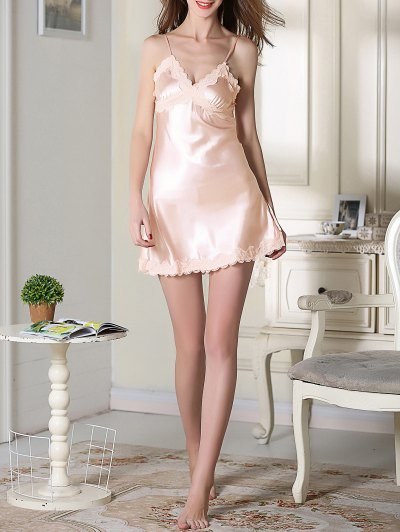 Lace Trim Satin Slip Sleep Dress - LIGHT PINK L Mobile