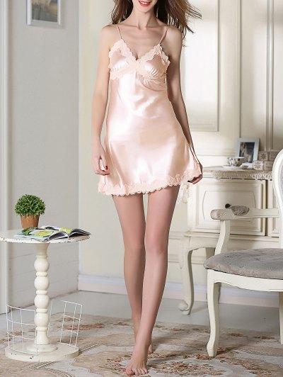 Lace Trim Satin Slip Sleep Dress - LIGHT PINK XL Mobile
