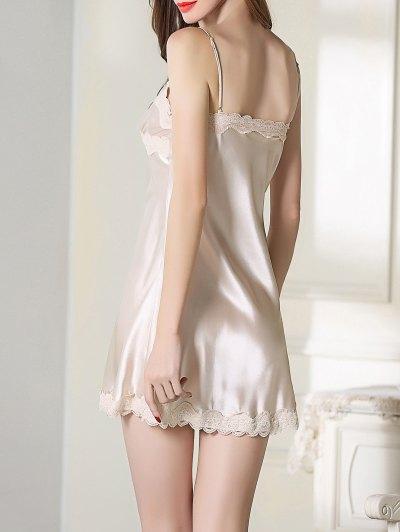 Lace Trim Satin Slip Sleep Dress - CHAMPAGNE M Mobile