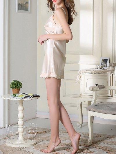 Lace Trim Satin Slip Sleep Dress - CHAMPAGNE XL Mobile