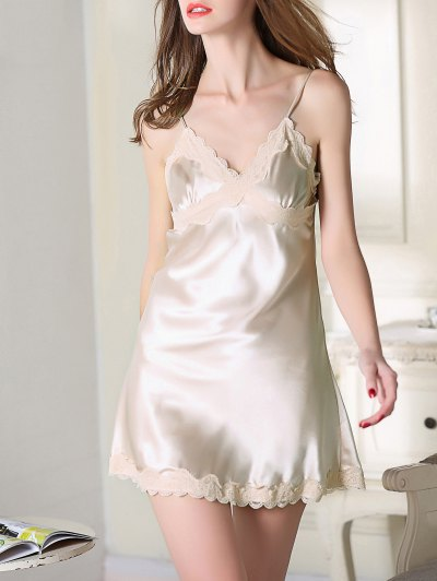 Lace Trim Satin Slip Sleep Dress - CHAMPAGNE 2XL Mobile