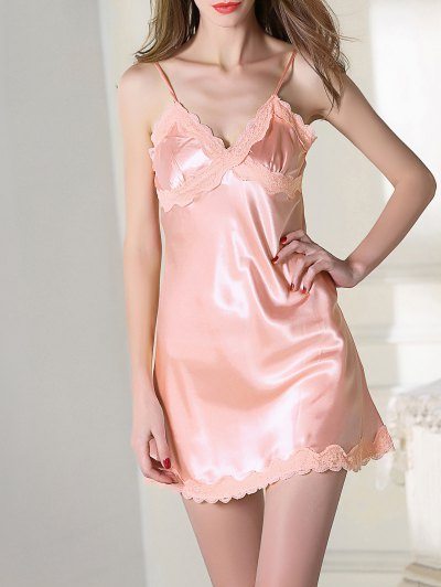 Lace Trim Satin Slip Sleep Dress - PINK M Mobile
