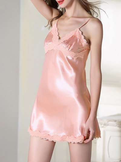 Lace Trim Satin Slip Sleep Dress - PINK L Mobile