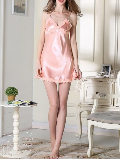 Lace Trim Satin Slip Sleep Dress - PINK XL Mobile