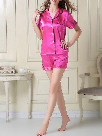 Short Sleeve Satin Boxer Pajama - ROSE RED L Mobile