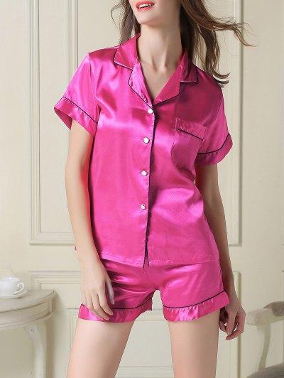 Short Sleeve Satin Boxer Pajama - ROSE RED XL Mobile