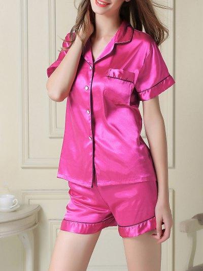 Short Sleeve Satin Boxer Pajama - ROSE RED 2XL Mobile