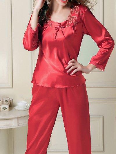 Embroidered Satin Tee and Capri Pants Pajama - RED M Mobile