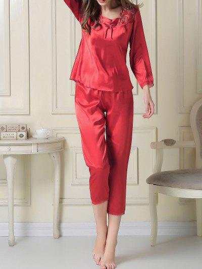 Embroidered Satin Tee and Capri Pants Pajama - RED XL Mobile