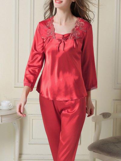 Embroidered Satin Tee and Capri Pants Pajama - RED 2XL Mobile