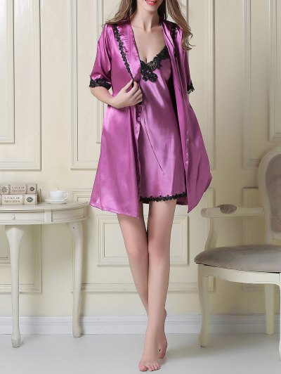 Satin Slip Dress and Belted Sleep Robe - PURPLE L Mobile